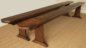 Antique Oak Pair Of Benches