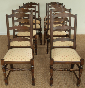 Antique Oak Set Of Six + Two Carver Chairs