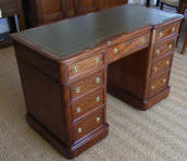 Victorian Mahogany Inverted Break Fronted Twin Pedestal Desk