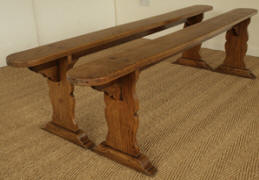 Pair Of Matching Elm Antique Benches