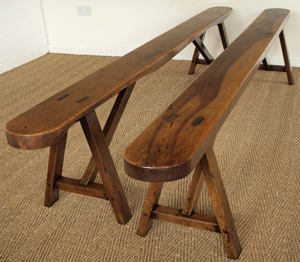 Rare Matching Pair Of Antique Walnut Benches
