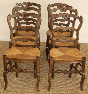 Set Of Six Fruitwood Cafe Chairs